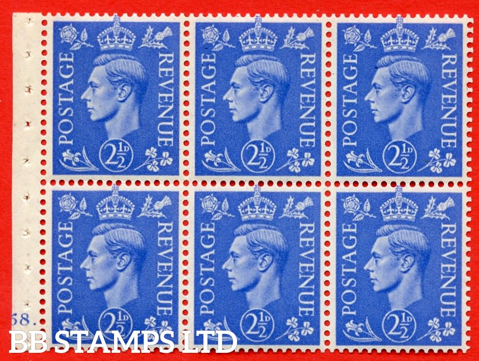 """SG. 489f. QB33. 2½d blue. A fine UNMOUNTED MINT complete Cylinder pane of 6 J58 dot. Perf type """"B6(IE)"""". Good Perfs."""