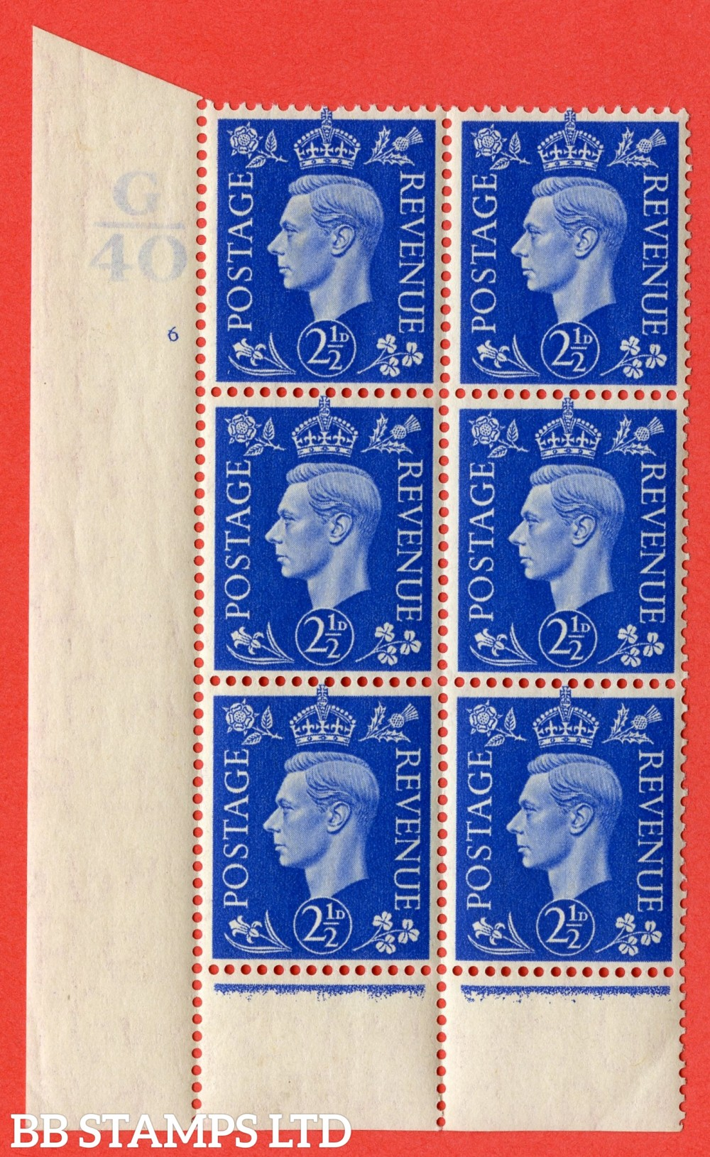 "SG. 466. Q13. 2½d Ultramarine. A superb UNMOUNTED MINT "" Control G40 cylinder 6 (i) no dot "" control block of 6 with perf type 6 I/P.."