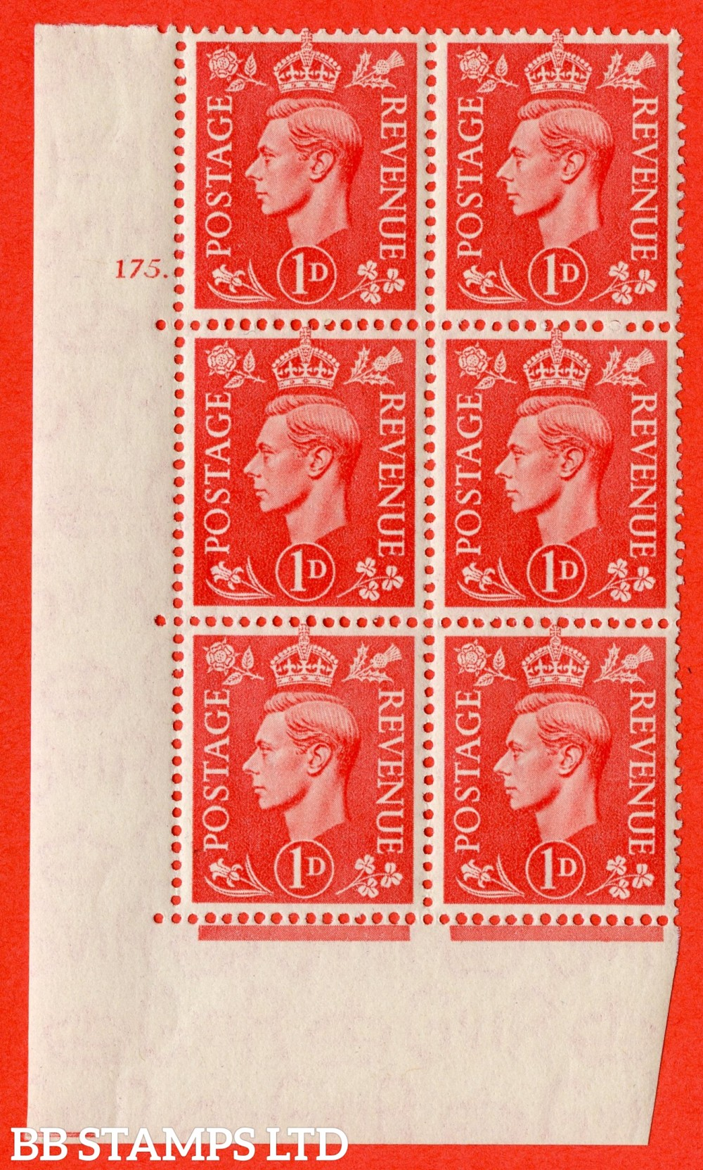"SG. 486. Q5. 1d Pale scarlet. A superb UNMOUNTED MINT "" No Control   cylinder 175 dot "" control block of 6 with perf type 5 E/I."