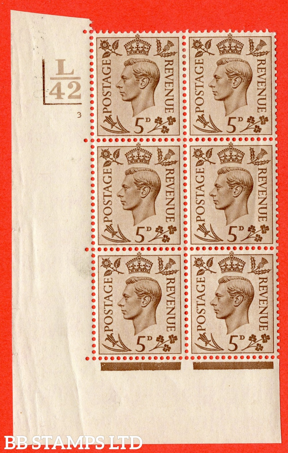 """SG. 469. Q21. 5d Brown. A fine lightly mounted mint.  """" Control L42. 2 Bars cylinder 3 no dot """" control block of 6 with perf type 5 E/I."""