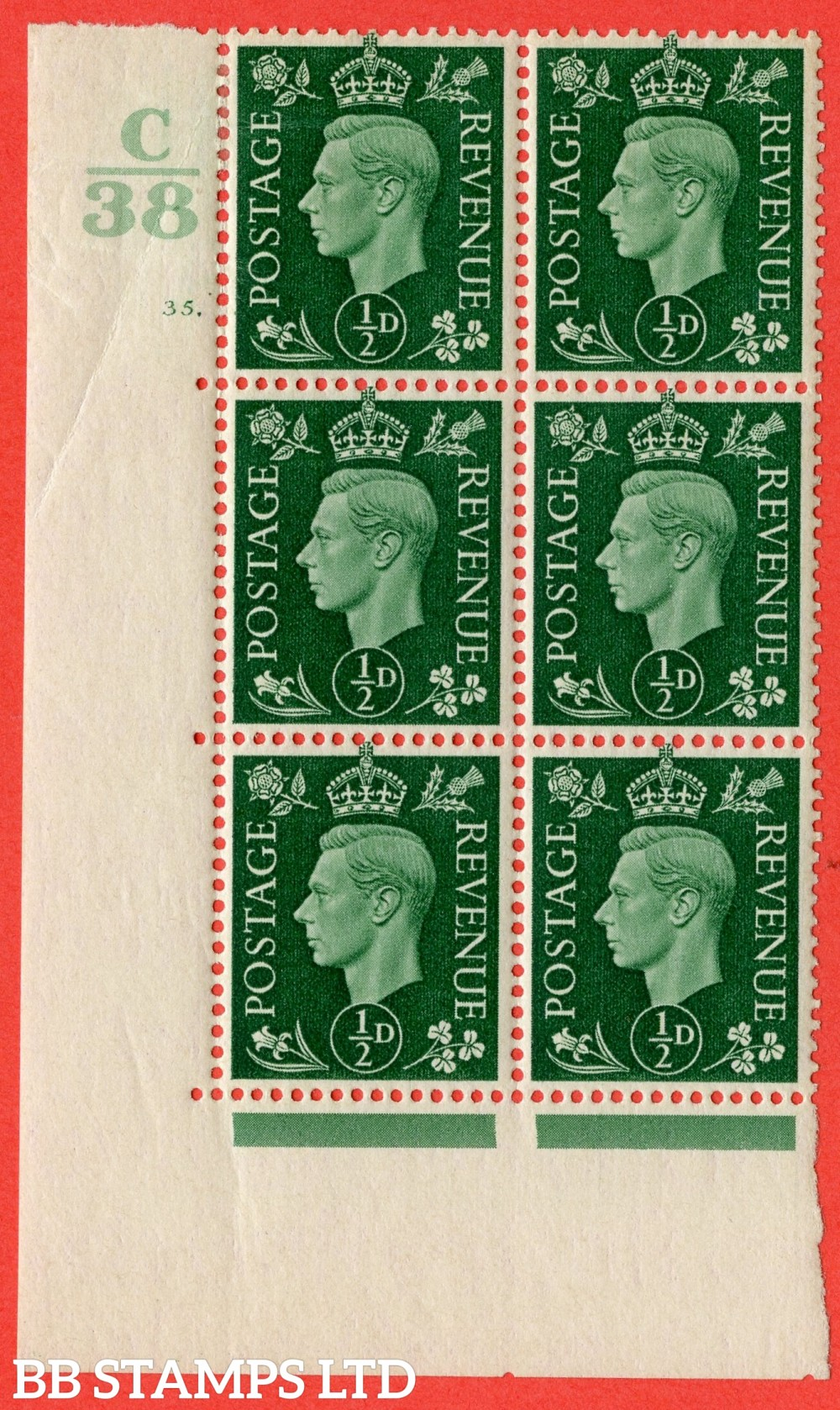 """SG. 462. Q1. ½d Green. A fine lightly mounted mint """" Control C38 cylinder 35 dot """" block of 6 with perf type 5 E/I with marginal rule."""