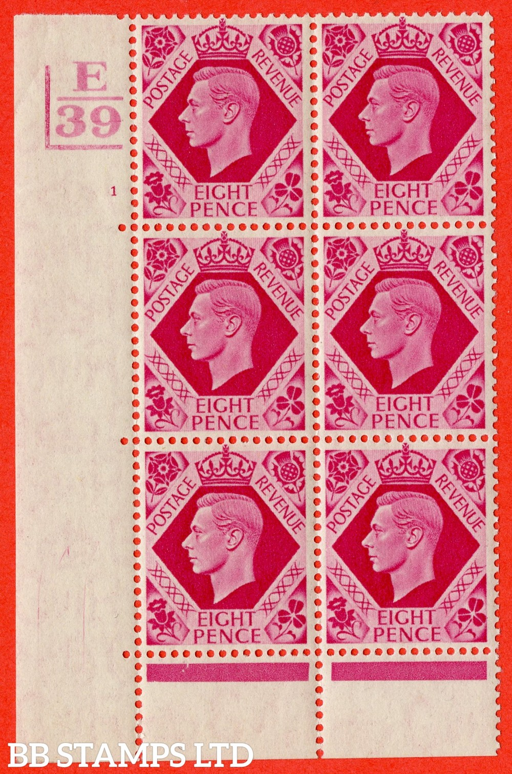 "SG. 472. Q24. 8d Bright Carmine. A superb UNMOUNTED MINT "" Control E39. 2 Bars Cylinder 1 no dot "" control block of 6 with perf type 6B E/P"