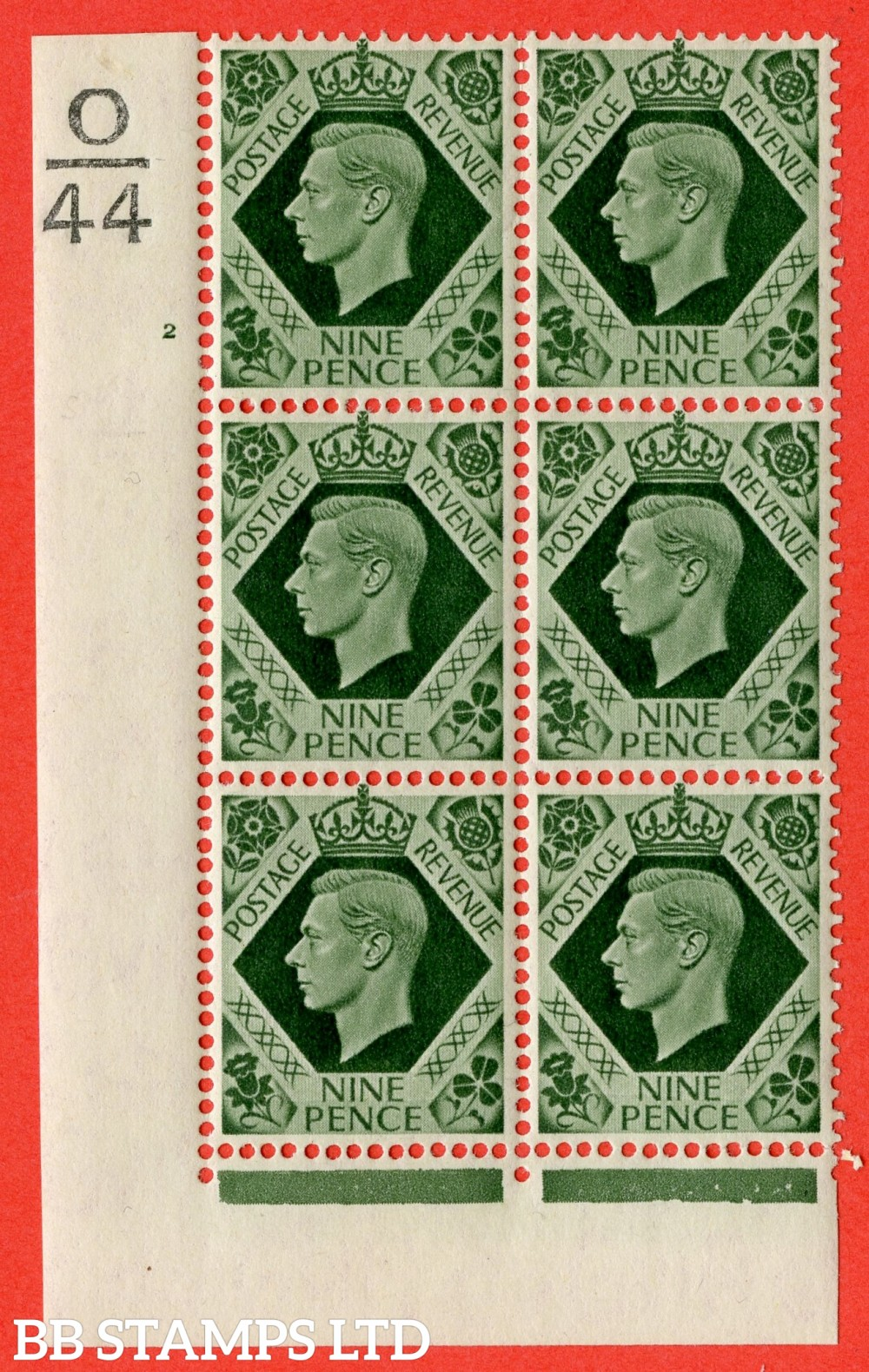 "SG. 473. Q25 b. 9d Olive-Green. A fine lightly mounted mint "" Control O44 cylinder 2 no dot "" control block of 6 with perf type 2 I/EI with listed variety "" Serif touched out but dot remains "" Row 18/1."