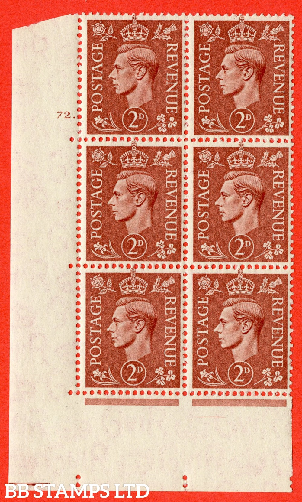 "SG. 506. Q12. 2d Pale Red-Brown. A superb UNMOUNTED MINT "" No Control cylinder 72 dot "" control block of 6 with perf type 5 I/E."