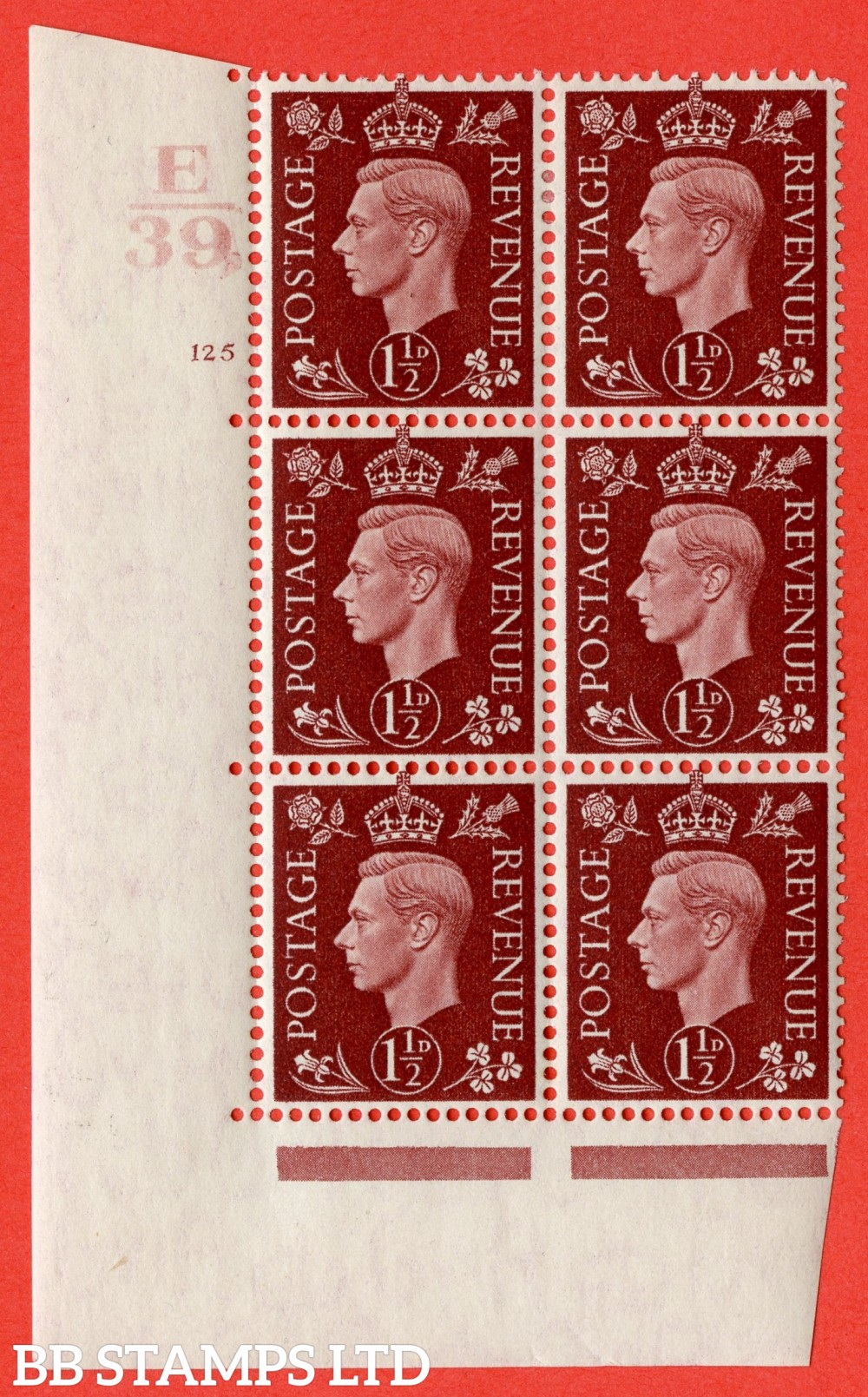 """SG. 464. Q7. 1½d Red-Brown. A fine lightly mounted mint """" Control E39 cylinder 125 no dot """" block of 6 with perf type 5 E/I."""