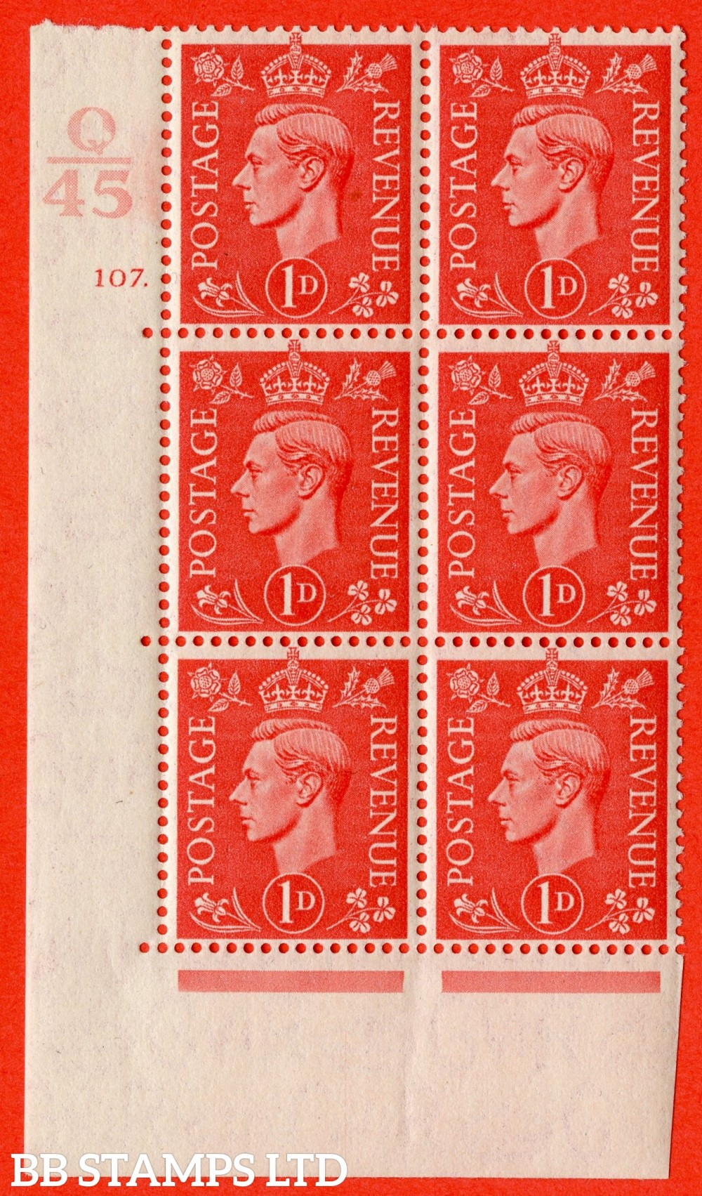 "SG. 486. Q5. 1d Pale scarlet. A superb UNMOUNTED MINT "" Control Q45  cylinder 107 dot "" control block of 6 with perf type 5 E/I."