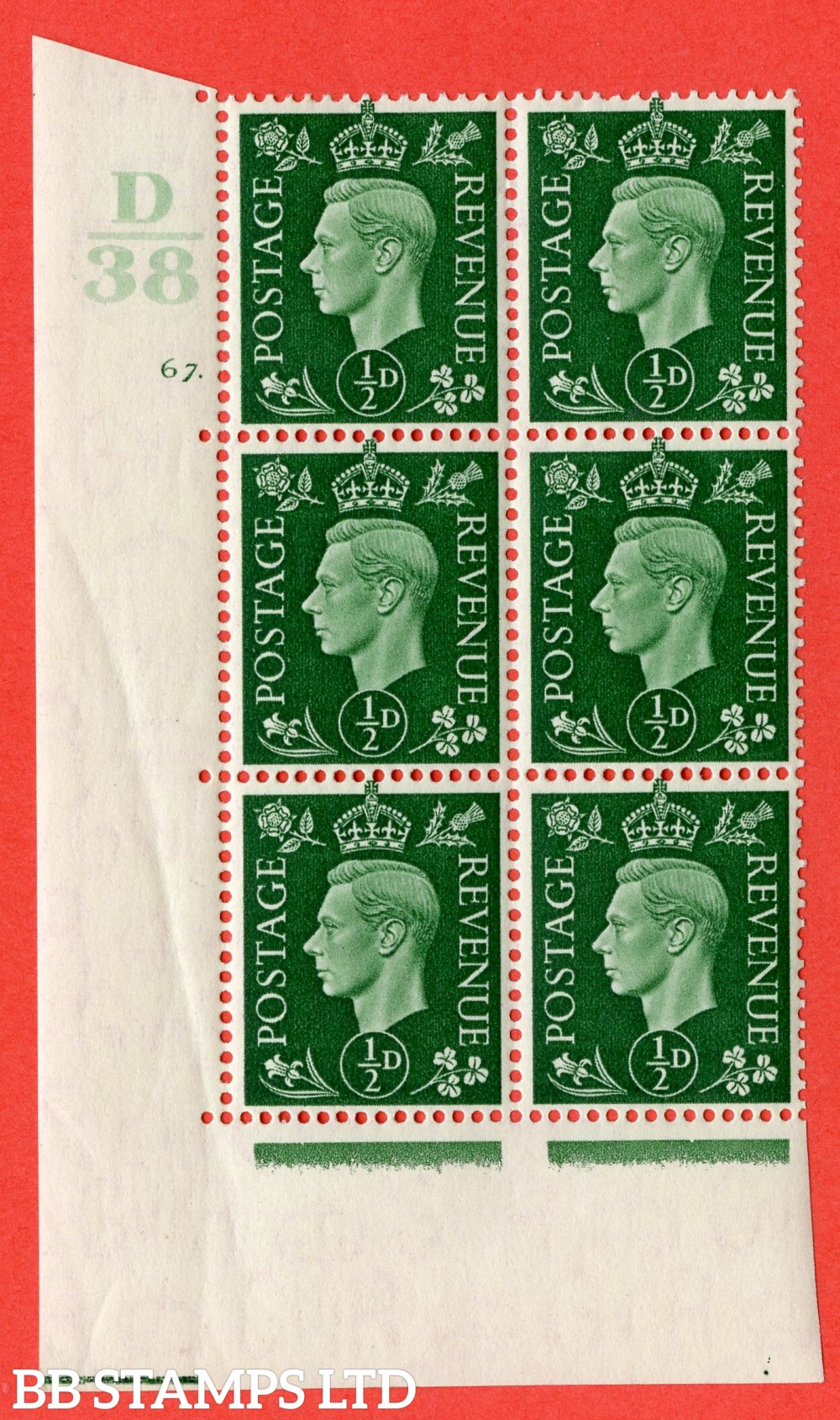 "SG. 462. Q1. ½d Green. A superb UNMOUNTED MINT "" Control D38 cylinder 67 dot "" block of 6 with perf type 5 E/I."