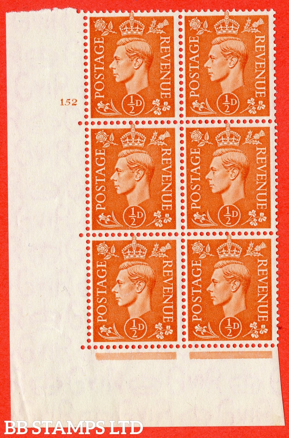 """SG. 503. Q3. ½d Pale Orange. A fine lightly mounted mint """" No Control cylinder 152 no dot """" control block of 6 with perf type 5 E/I."""