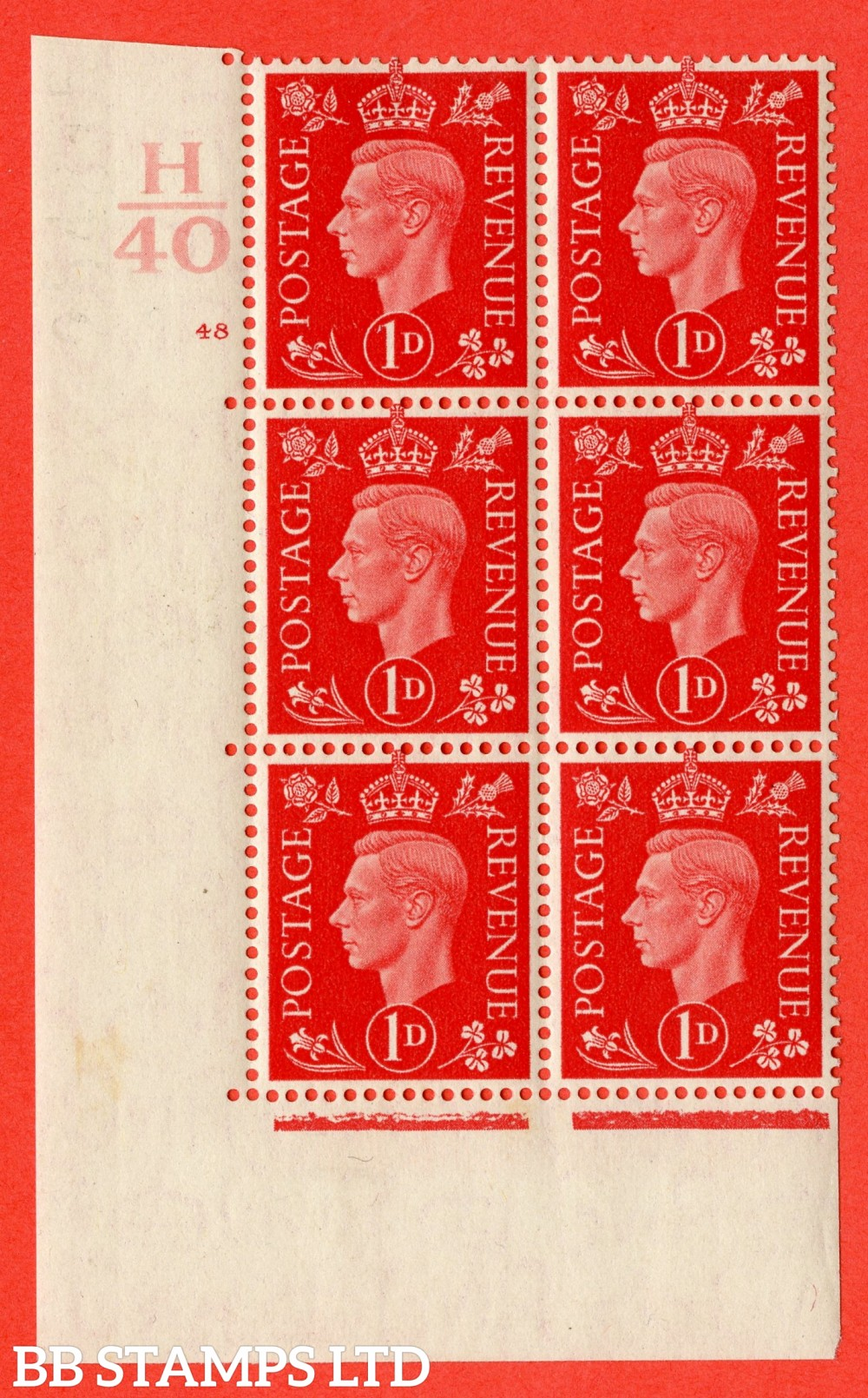 "SG. 463. Q4. 1d Scarlet. A fine lightly mounted mint "" Control H40 cylinder 48 no dot "" block of 6 with perf type 5 E/I."