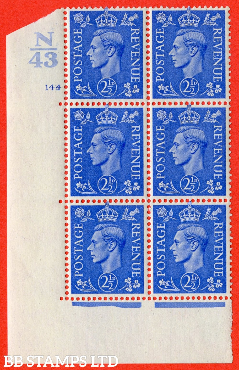 "SG. 489. Q14. 2½d Light ultramarine. A fine lightly mounted mint "" Control  N43 cylinder 144 no dot "" control block of 6 with perf type 5 E/I."