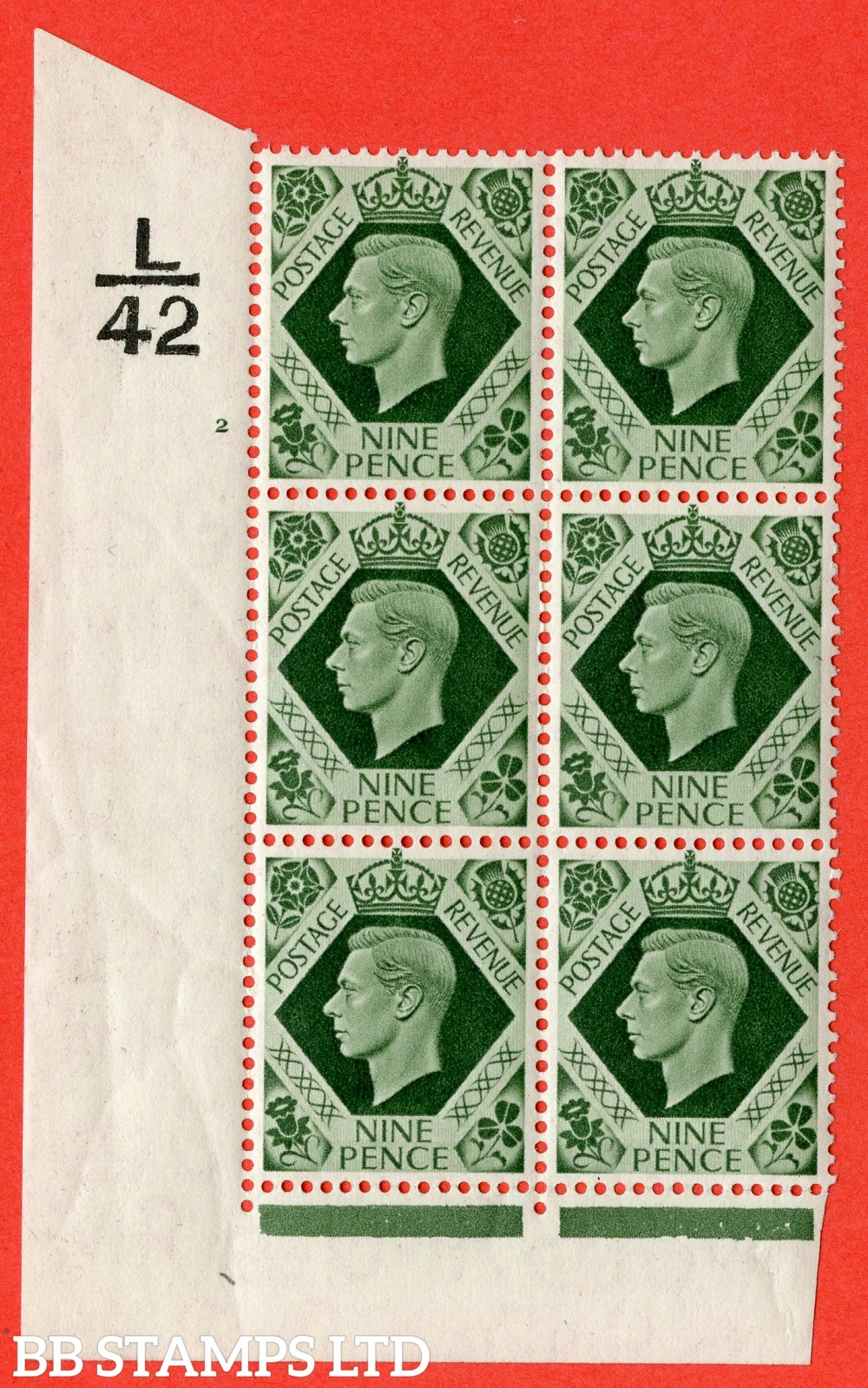 "SG. 473. Q25. b. 9d Olive-Green. A Superb UNMOUNTED MINT "" Control L42 cylinder 2 no dot "" control block of 6 with perf type 2 I/E with listed variety "" Serif touched out but dot remains "" R18/1."