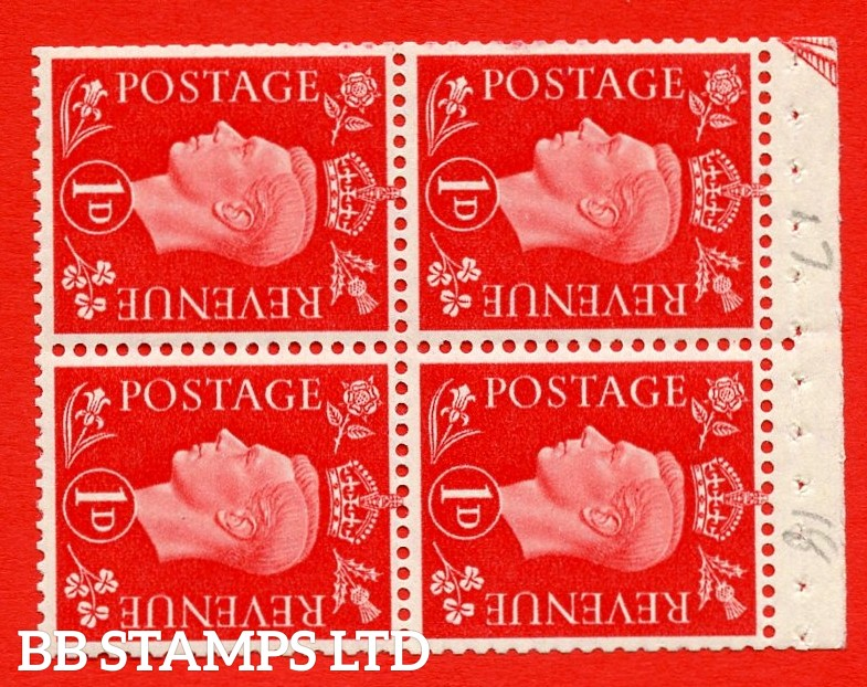"""SG. 463ab. QB11a. 1d scarlet. SIDEWAYS WATERMARK Left. A super MOUNTED MINT booklet pane. Perf Type """" I """". Good Perfs."""