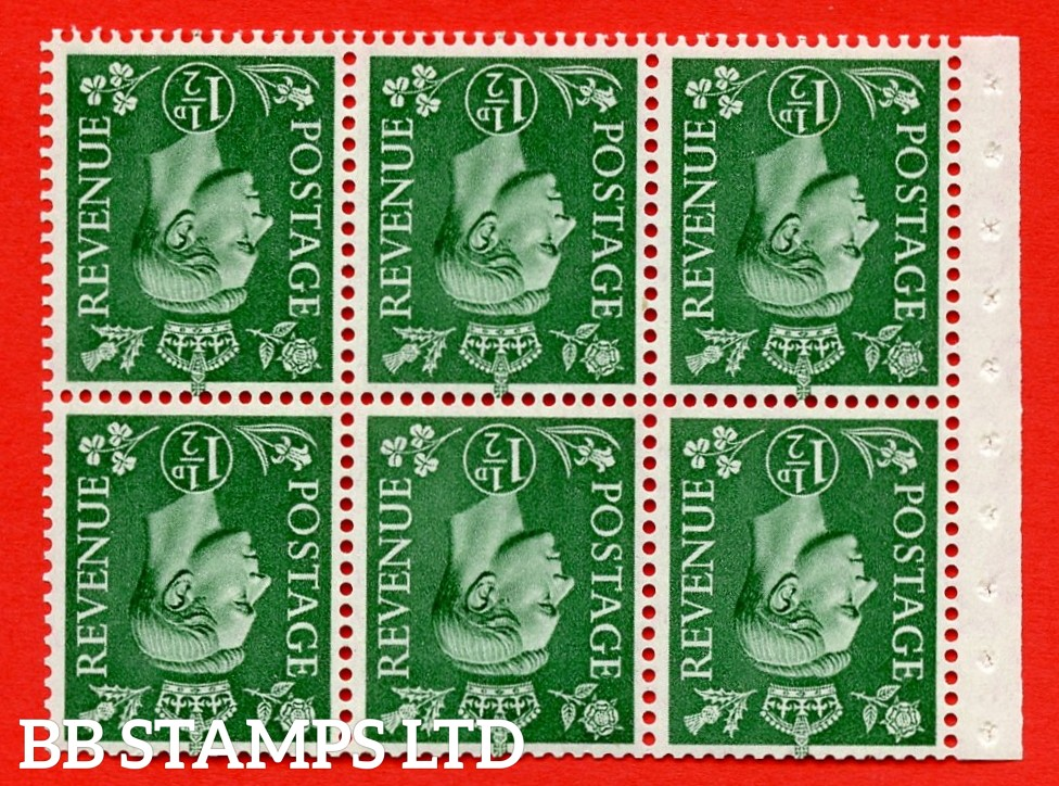 """SG. 505bw. QB26a. 1½d pale green. A superb MOUNTED MINT complete booklet pane. Perf type """" I """". Good Perfs"""