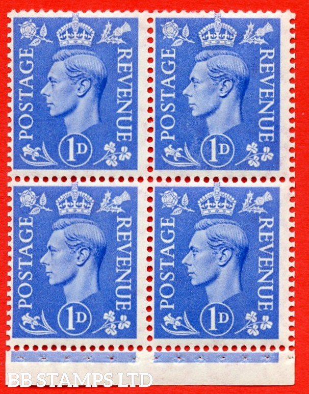"""SG. 504g. QB16a. 1d ultramarine. A fine MOUNTED MINT complete booklet pane of 4. Perf type """" I """". Good Perfs."""