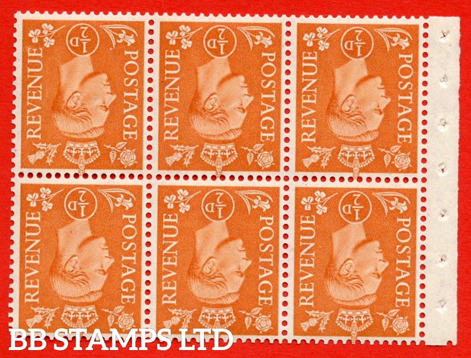 """SG. 503dw. QB7a. ½d orange. A fine UNMOUNTED MINT. INVERTED WATERMARK. complete booklet pane of 6. Perf type """" Iet """". Trimmed Perfs."""