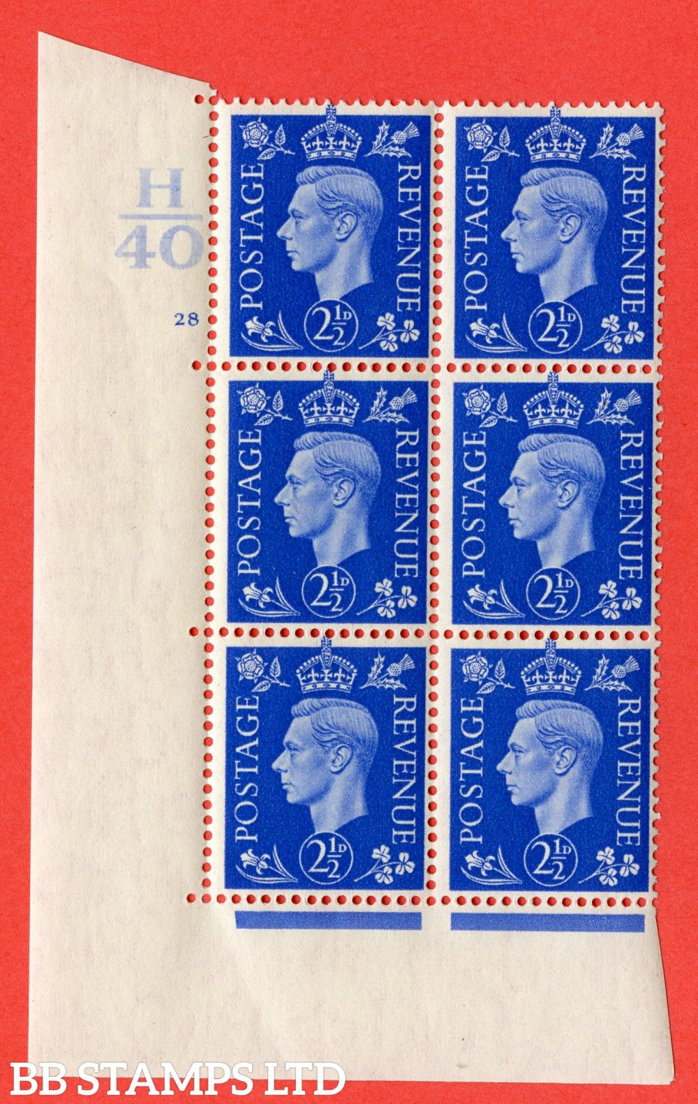 """SG. 466. d. Q13. 2½d Ultramarine.  A superb UNMOUNTED MINT """" Control H40 cylinder 28 no dot """" control block of 6 with perf type 5 E/I."""