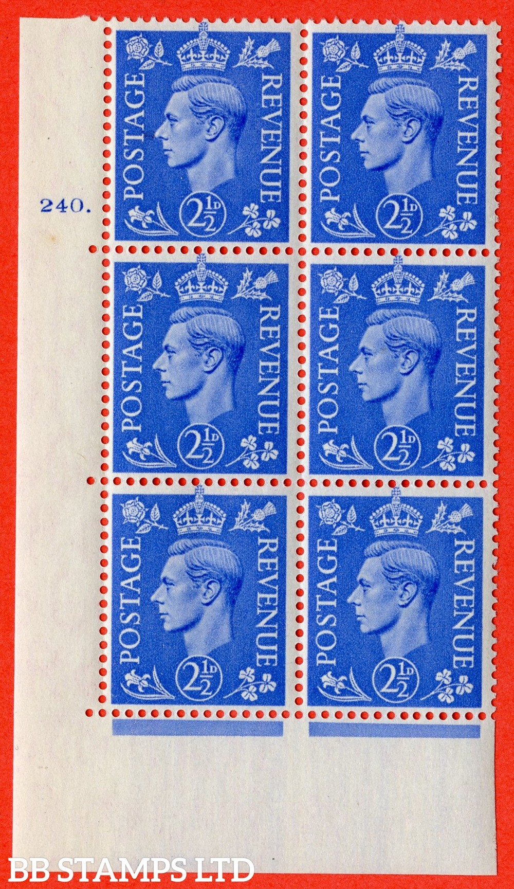 "SG. 489. Q14. 2½d Light ultramarine. A superb UNMOUNTED MINT "" No Control cylinder 240 dot "" control block of 6 with perf type 5 E/I"