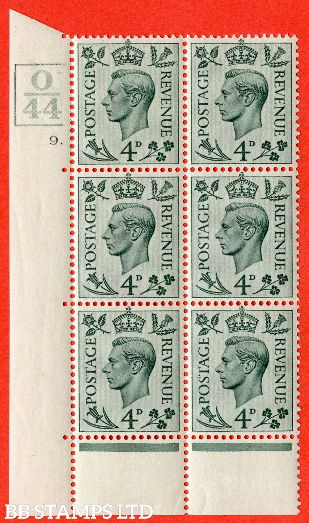 """SG. 468. Q19. 4d Grey-Green. A fine lightly mounted mint. """" Control O44. 3 Bars. Cylinder 9 dot """" control block of 6 with perf type 6B E/P."""