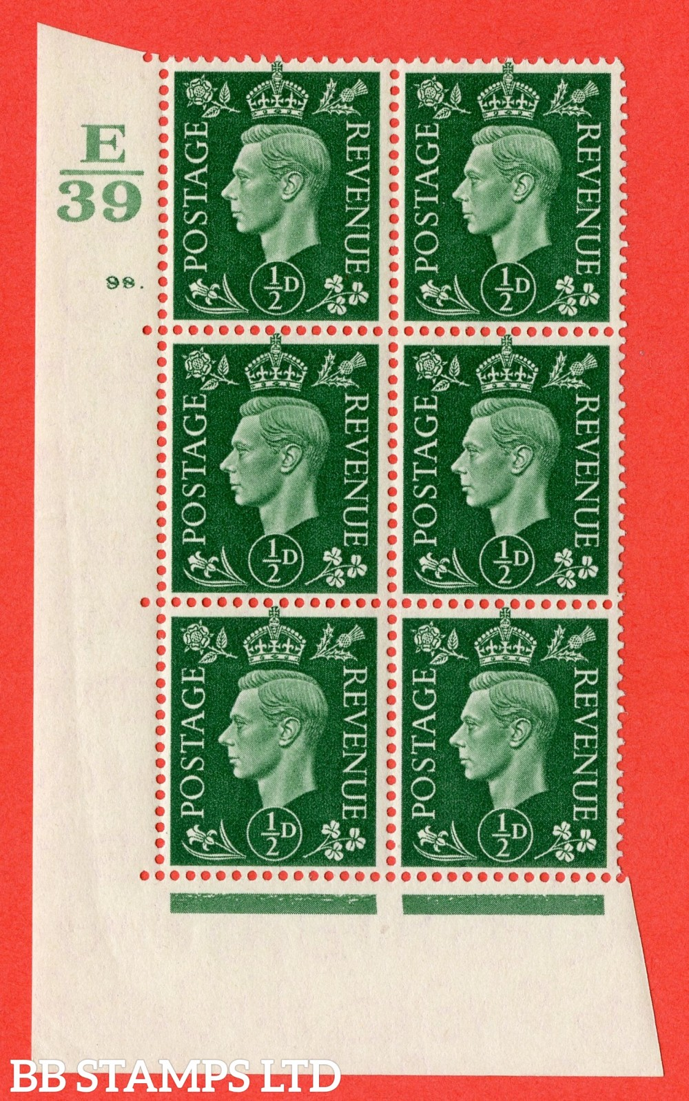 "SG. 462. Q1. ½d Green. A superb UNMOUNTED MINT "" Control E39 cylinder 98 dot "" block of 6 with perf type 5 E/I with marginal rule."