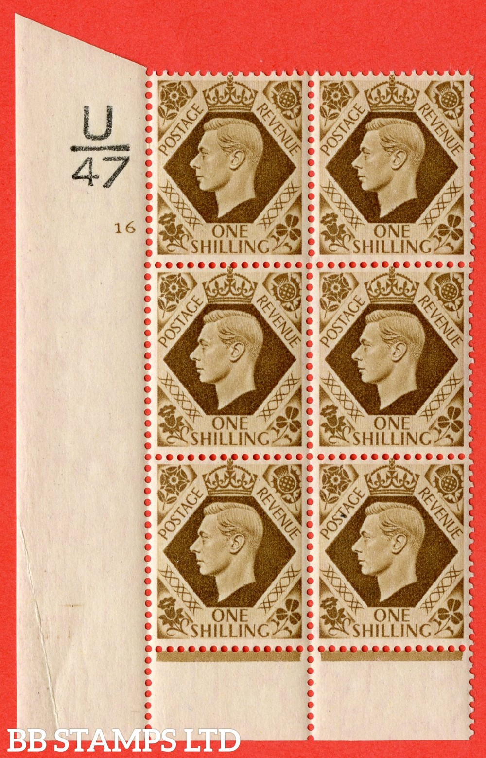"SG. 475. Q28. 1/- Bistre-Brown. A superb UNMOUNTED MINT "" Control  U47 cylinder 16 no dot "" control block of 6 with perf type 6 I/P"