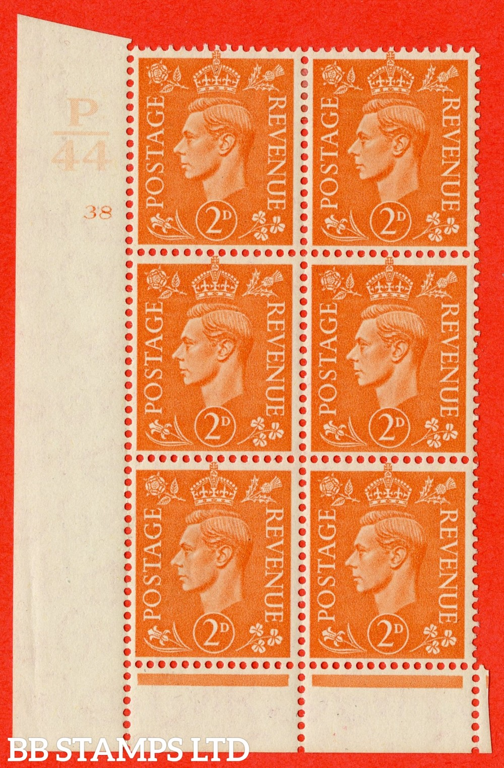 "SG. 488. Q11. 2d Pale Orange. A fine lightly mounted mint "" Control P44 cylinder 38 no dot "" control block of 6 with perf type 6 I/E."