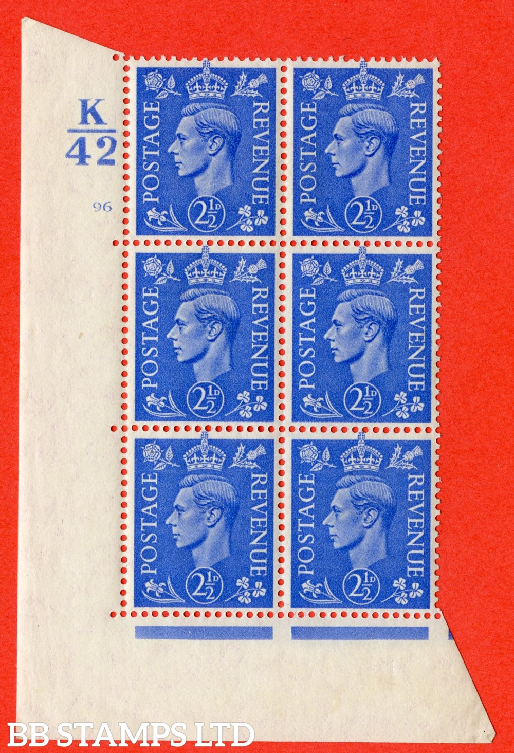 """SG. 489. Q14. 2½d Light ultramarine. A superb UNMOUNTED MINT """" Control K42 cylinder 96 no dot """" control block of 6 with perf type 5 E/I."""