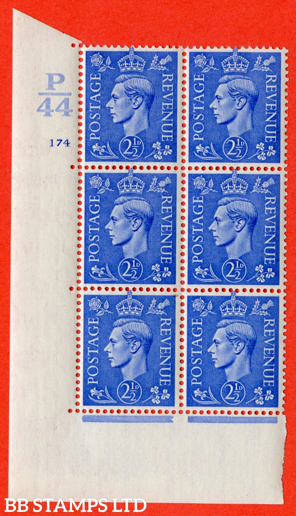 "SG. 489. Q14. 2½d Light ultramarine. A superb UNMOUNTED MINT "" Control P44 cylinder 175 no dot "" control block of 6 with perf type 5 E/I."
