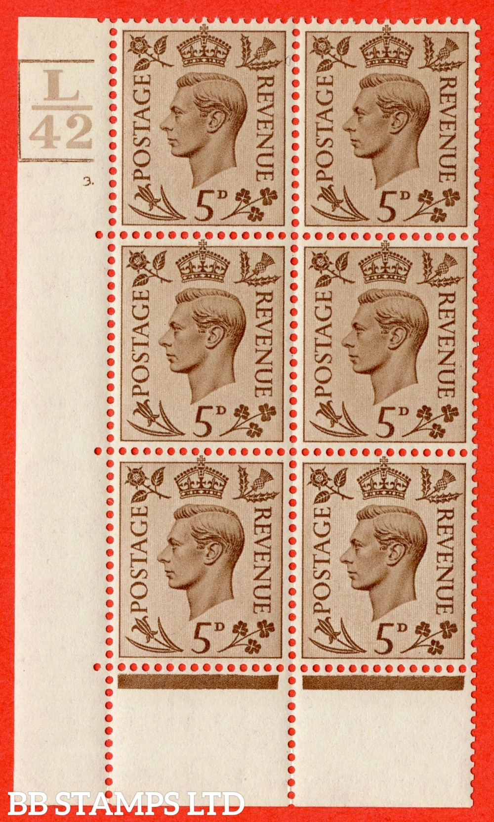 """SG. 469. Q21. 5d Brown. A fine lighly mounted mint.  """" Control L42. 3 Bars. Cylinder 3 dot """" control block of 6 with perf type 6B E/P."""