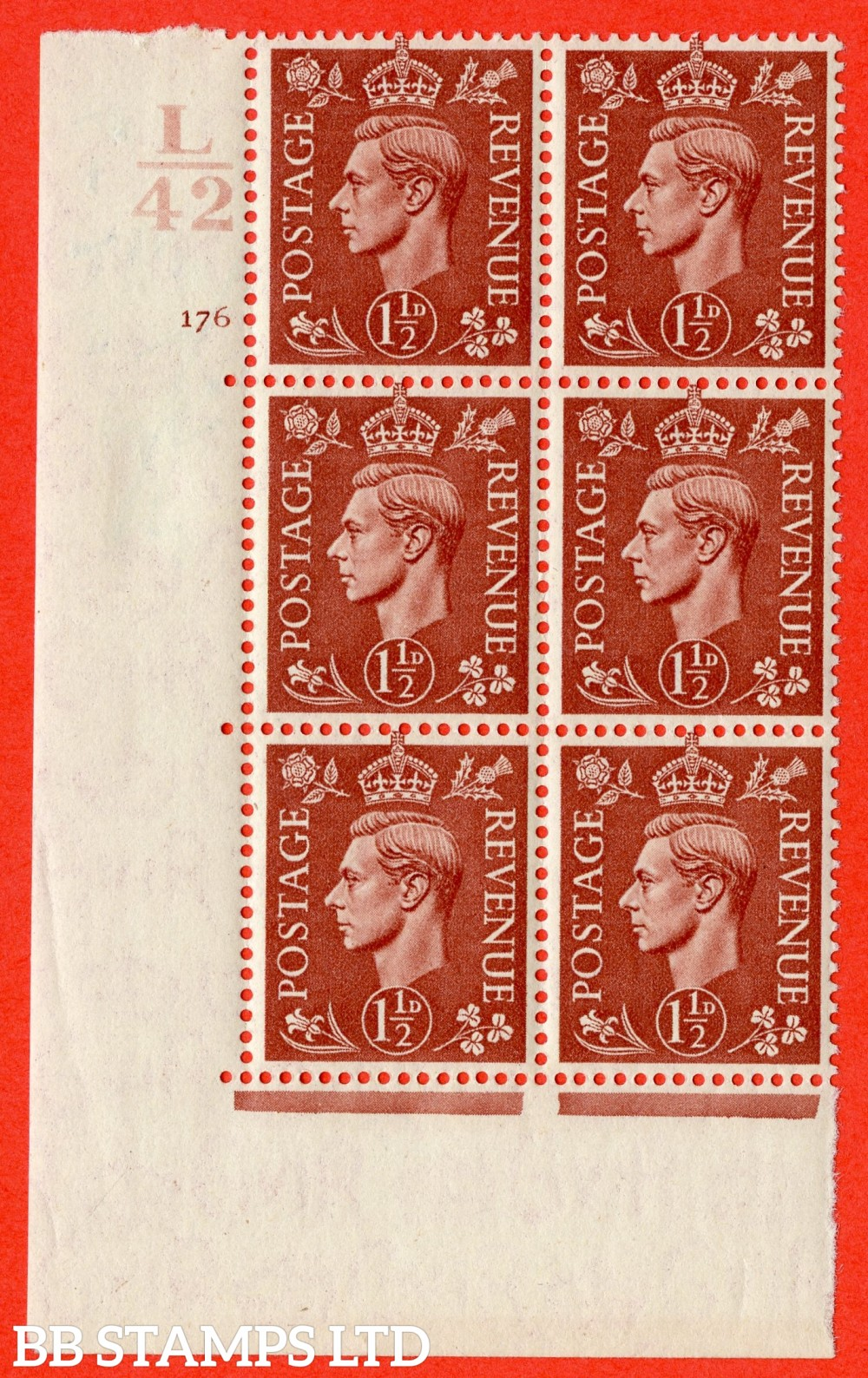 "SG. 487. Q8. 1½d Pale Red-Brown. A superb UNMOUNTED MINT "" Control L42 cylinder 176 no dot "" control block of 6 with perf type 5 E/I."