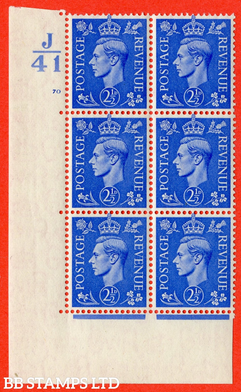 "SG. 489. Q14. 2½d Light ultramarine. A fine lightly mounted mint "" Control  J41 cylinder 70 no dot "" control block of 6 with perf type 5 E/I."