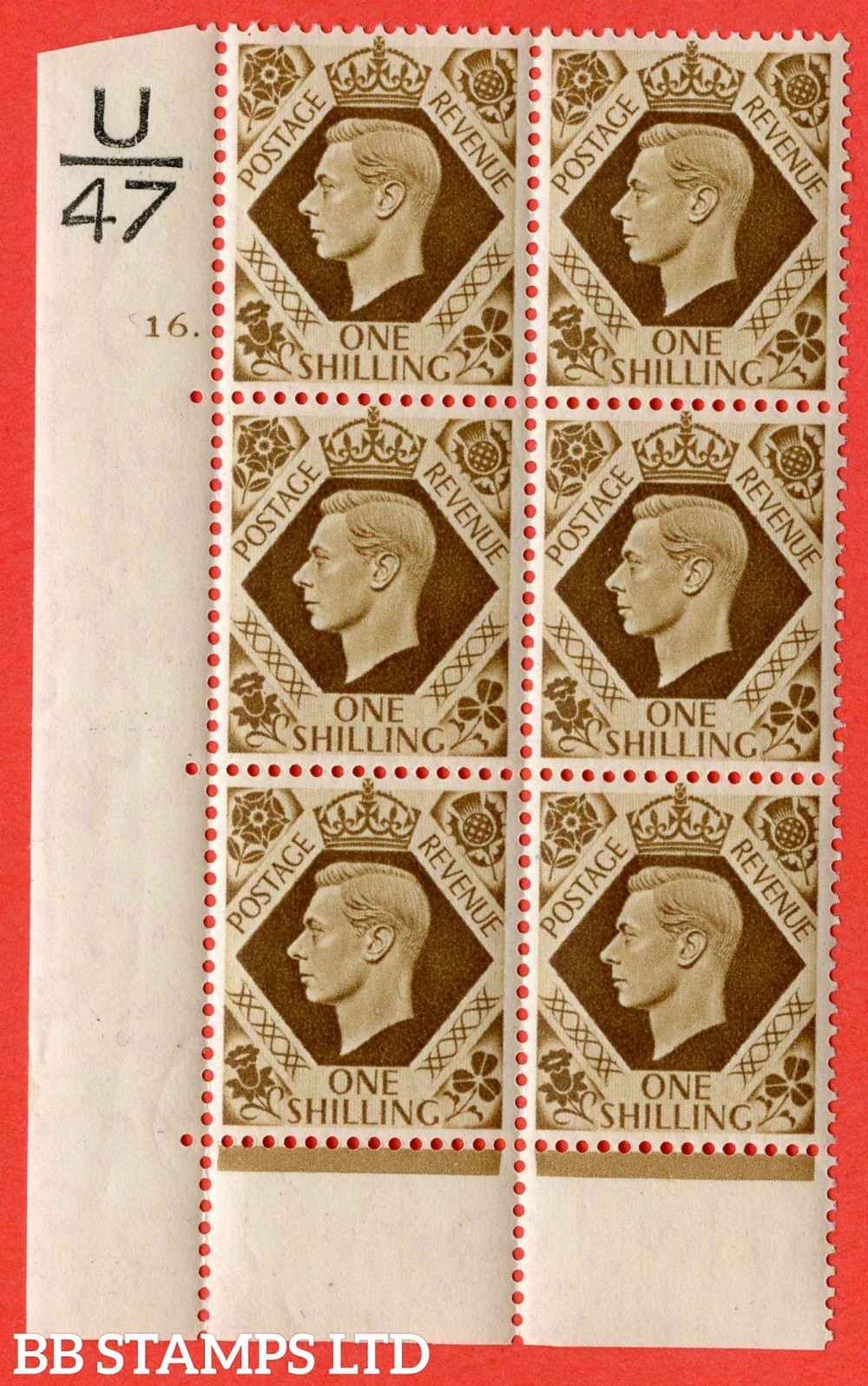 "SG. 475. Q28. 1/- Bistre-Brown. A fine lightly mounted mint "" Control  U47 cylinder 16 dot "" control block of 6 with perf type 6B E/P."