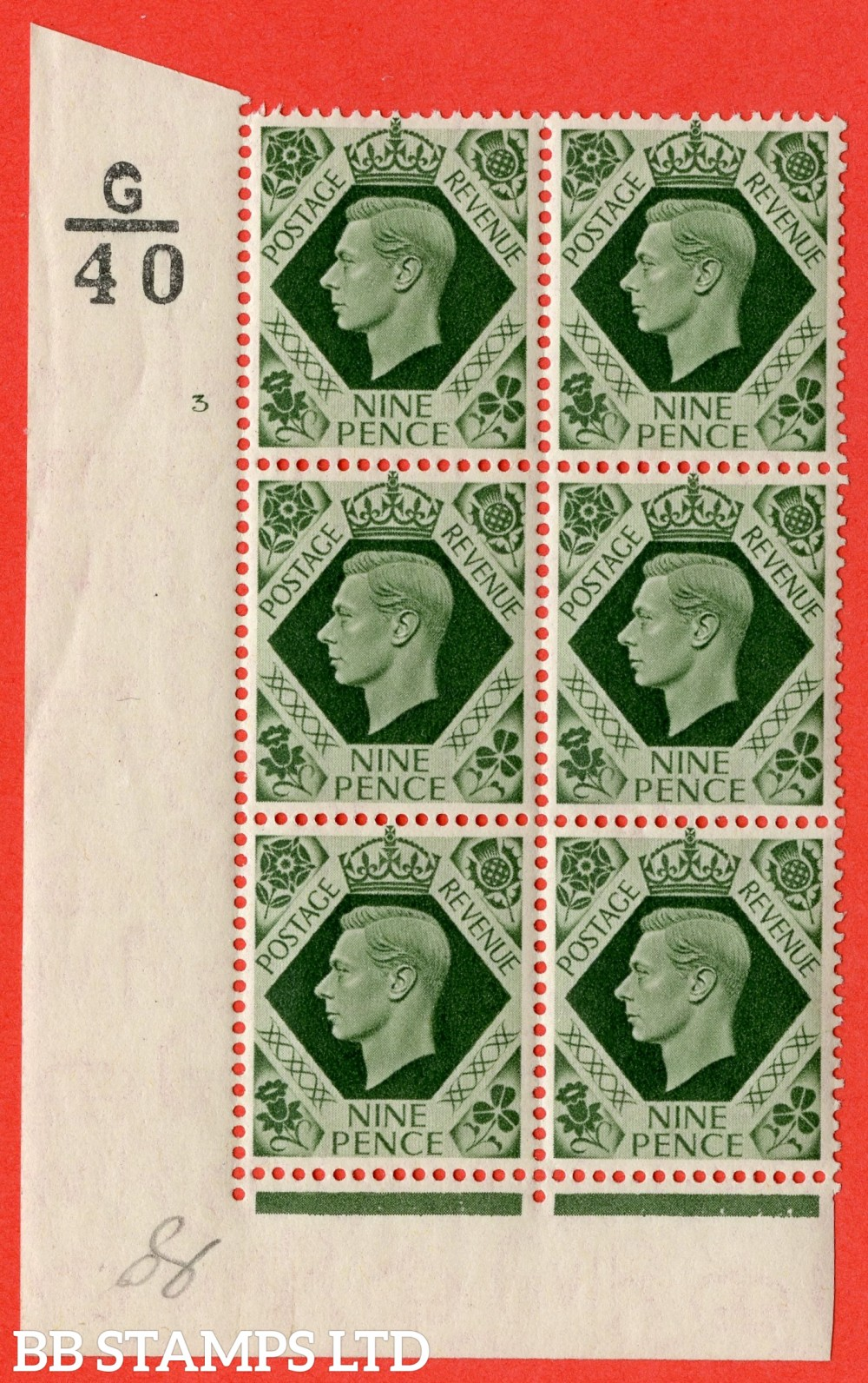 "SG. 473. Q25. b. 9d Olive-Green. A Superb UNMOUNTED MINT "" Control G40 cylinder 3 no dot "" control block of 6 with perf type 2 I/E with listed variety "" Serif touched out but dot remains "" R18/1."