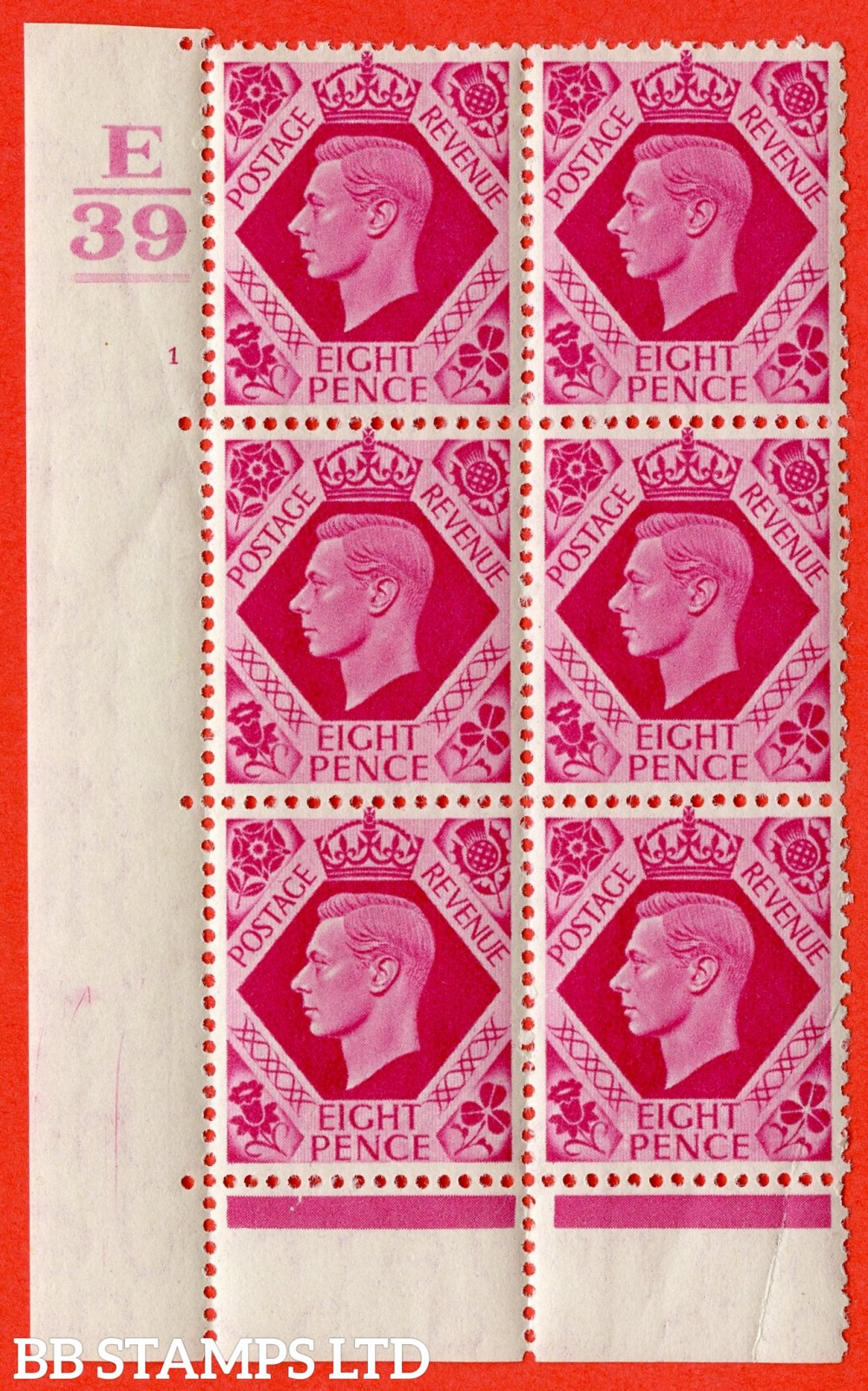 "SG. 472. Q24. 8d Carmine. A fine lightly mounted mint "" Control E39. 1 Bar. Cylinder 1 no dot "" control block of 6 with perf type 6B E/P. Crease R20/2."