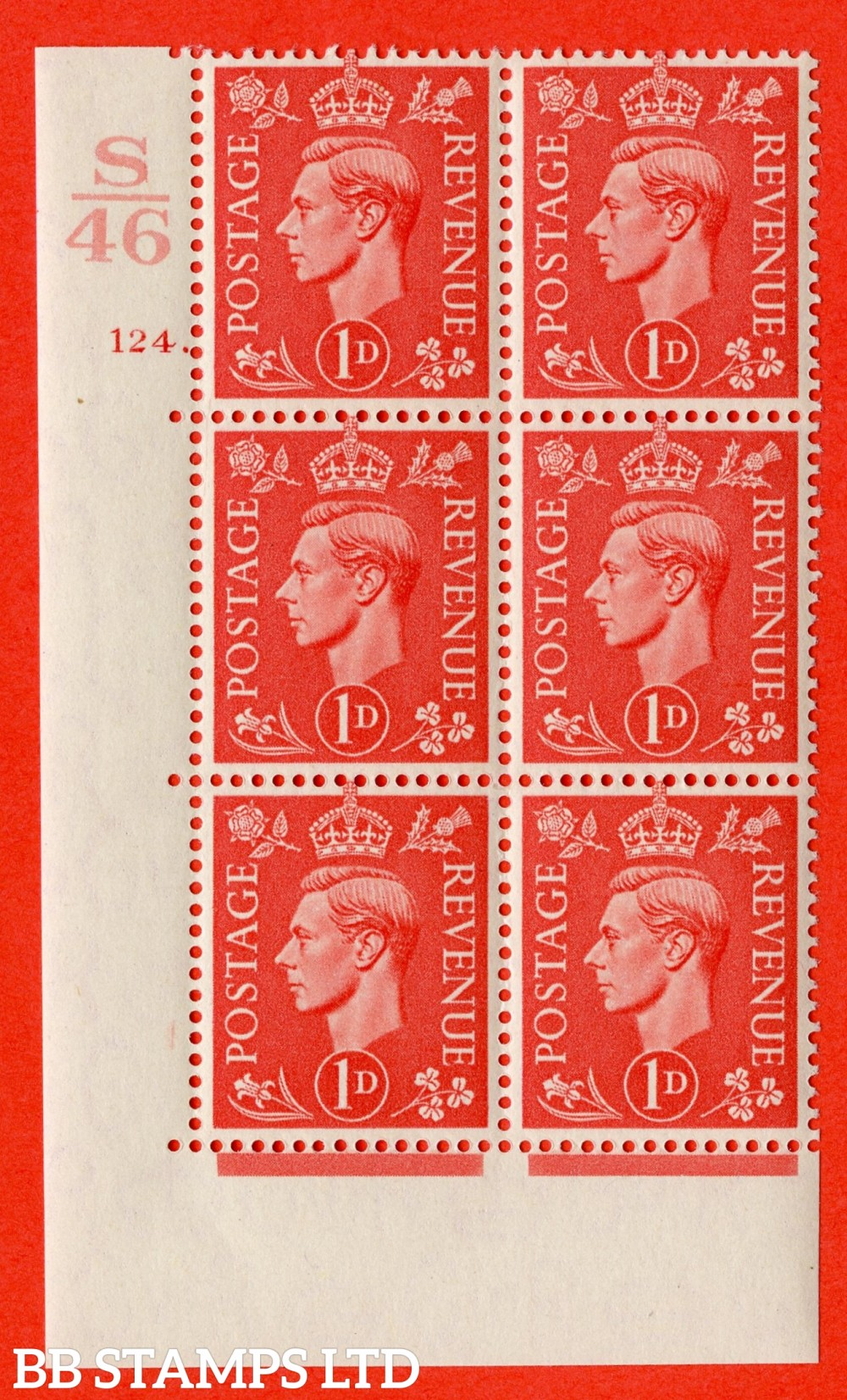 "SG. 486. Q5. 1d Pale scarlet. A superb UNMOUNTED MINT "" Control S46  cylinder 124 dot "" control block of 6 with perf type 5 E/I."