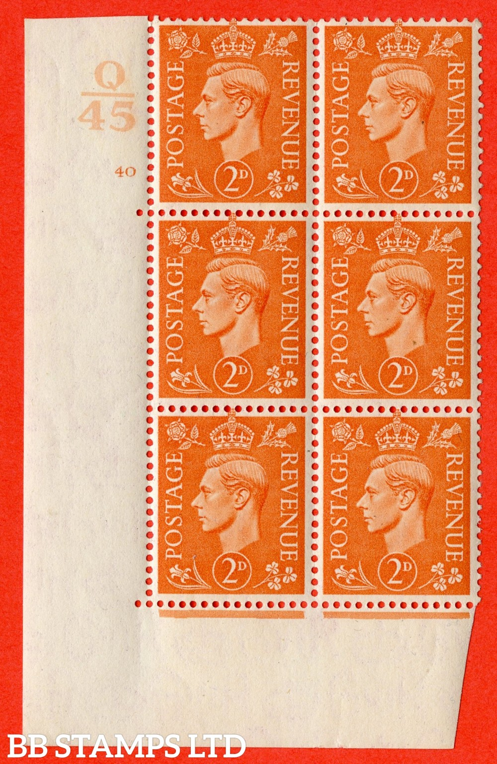 """SG. 488. Q11. 2d Pale Orange. A superb UNMOUNTED MINT """" Control Q45 cylinder 40 no dot """" control block of 6 with perf type 5AE AE/I."""