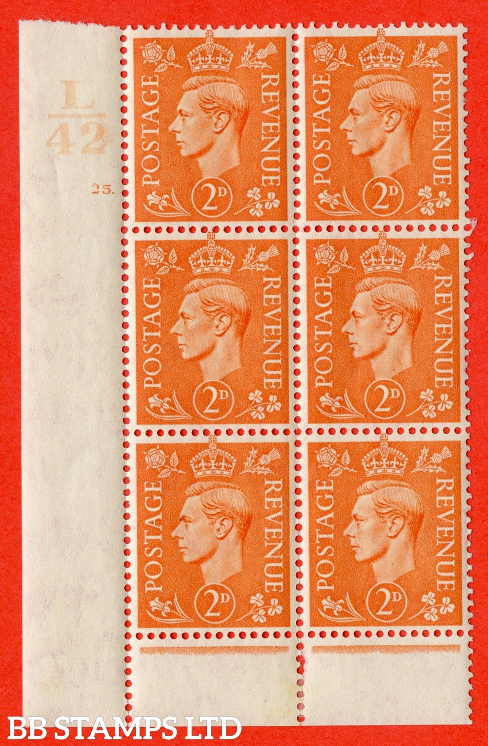 "SG. 488. Q11. 2d Pale Orange. A fine lightly mounted mint "" Control L42 cylinder 25 dot "" control block of 6 with perf type 6 I/P."