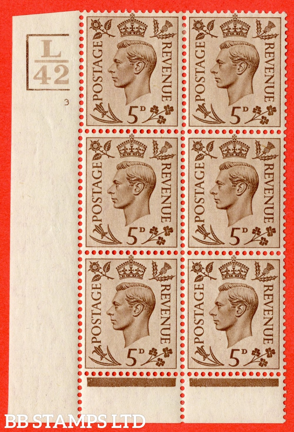 """SG. 469. Q21. 5d Brown. A fine lightly mounted mint.  """" Control L42 3 Bars. Cylinder 3 no dot """" control block of 6 with perf type 6 I/P."""