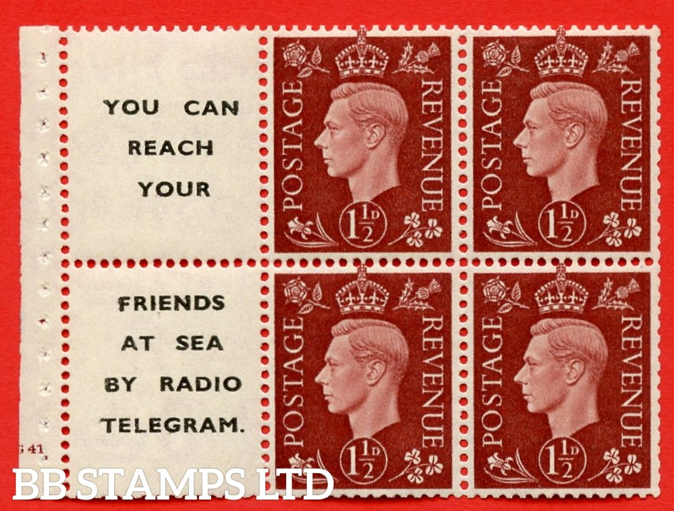 """QB23 Perf Type B3(I) (12) 1½d Red-Brown x 6 Pane, MOUNTED MINT. Cylinder Pane G41 no dot  ( SG. 464b ) Perf type B3(I). """" You can reach your / friends at sea by Radio Telegram  """". Good Perfs."""