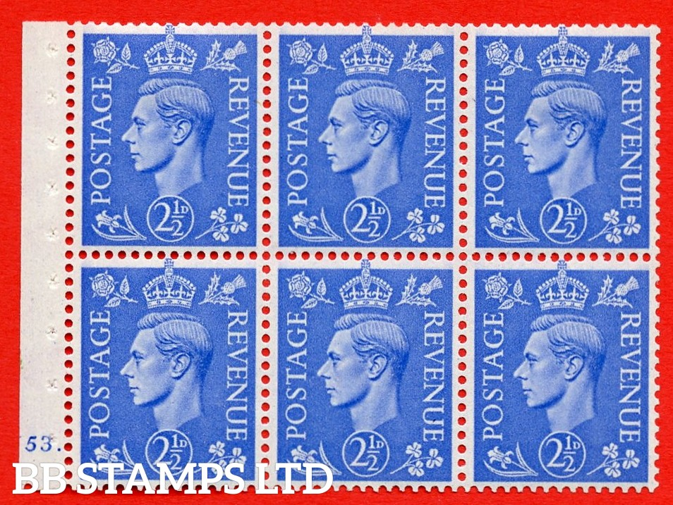 """SG. 489f. QB33. 2½d blue. A fine MOUNTED MINT complete Cylinder pane of 6 J53 dot. Perf type """"B6(IE)"""". Good Perfs."""