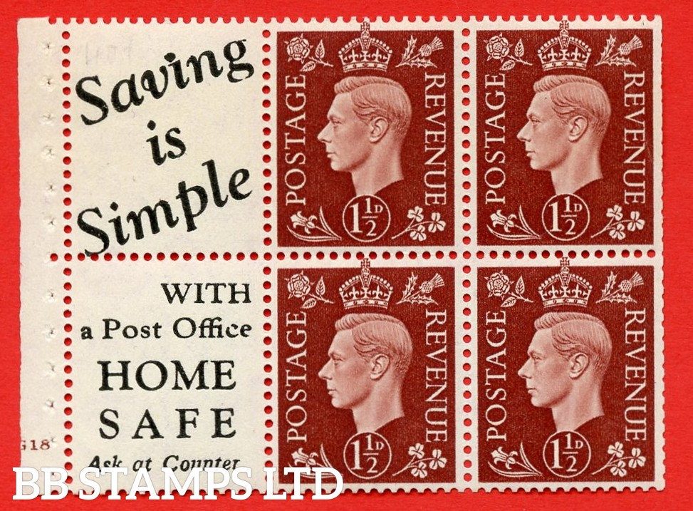 """QB23 Perf Type B4(E) (10) 1½d Red-Brown x 6 Pane, UNMOUNTED MINT. Cylinder Pane G18 no dot ( SG. 464b ) Perf type B4(E). """" Saving is Simple / (""""is"""" 4.5mm. High) Home Safe """". Trimmed Perfs."""