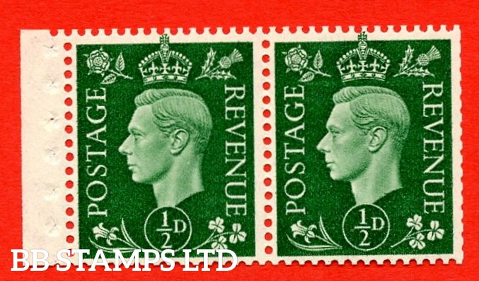 SG. 462 c. QB3. ½d Green. A fine MOUNTED MINT complete booklet pane. Perf type ' E '. Good Perfs.