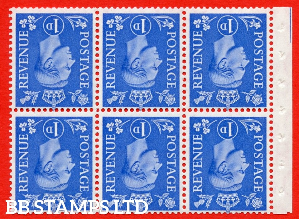 """SG. 504fw. QB15a. 1d ultramarine. Type 1c. A fine MOUNTED MINT. INVERTED WATERMARK. complete booklet pane of 6. Perf type """" Iet """". Good Perfs."""