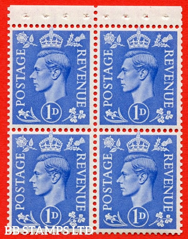 """SG. 504g. QB16b. 1d ultramarine. A fine UNMOUNTED MINT complete booklet pane of 4. Perf type """" P """". Good Perfs."""