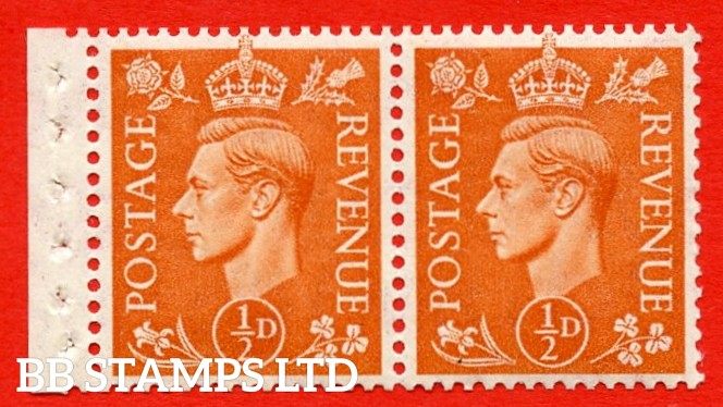 """SG. 503. QB9. ½d orange. A fine UNMOUNTED MINT complete booklet pane of 2. Perf type """" E  """". Good Perfs."""