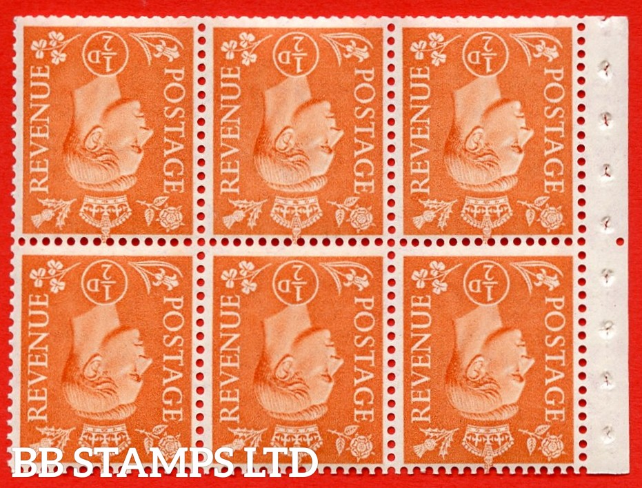 """SG. 503dw. QB7a. ½d orange. A fine UNMOUNTED MINT. INVERTED WATERMARK. complete booklet pane of 6. Perf type """" Iem """". Trimmed Perfs."""