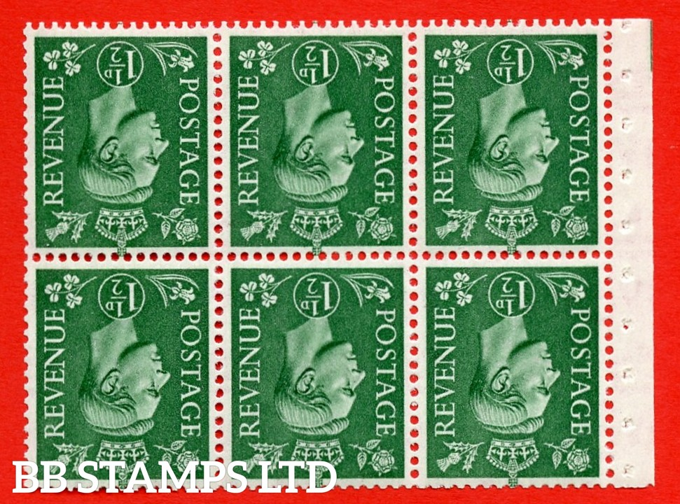 """SG. 505bw. QB26a. 1½d pale green. A superb UNMOUNTED MINT complete booklet pane. Perf type """" Iet """". Good Perfs"""