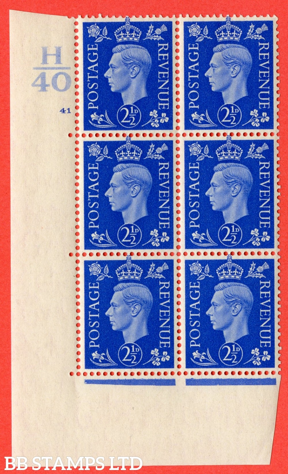 """SG. 466. d. Q13. 2½d Ultramarine.  A superb UNMOUNTED MINT """" Control H40 cylinder 41 no dot """" control block of 6 with perf type 5 E/I."""