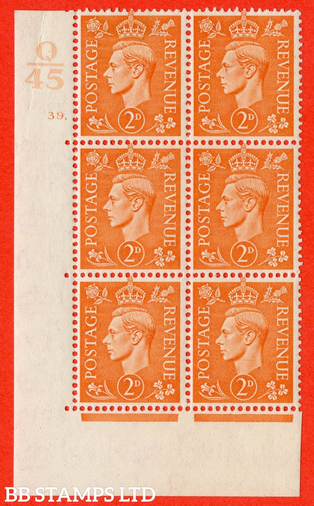 "SG. 488. Q11. 2d Pale Orange. A fine lightly mounted mint "" Control Q45 cylinder 39 dot "" control block of 6 with perf type 5 E/I."
