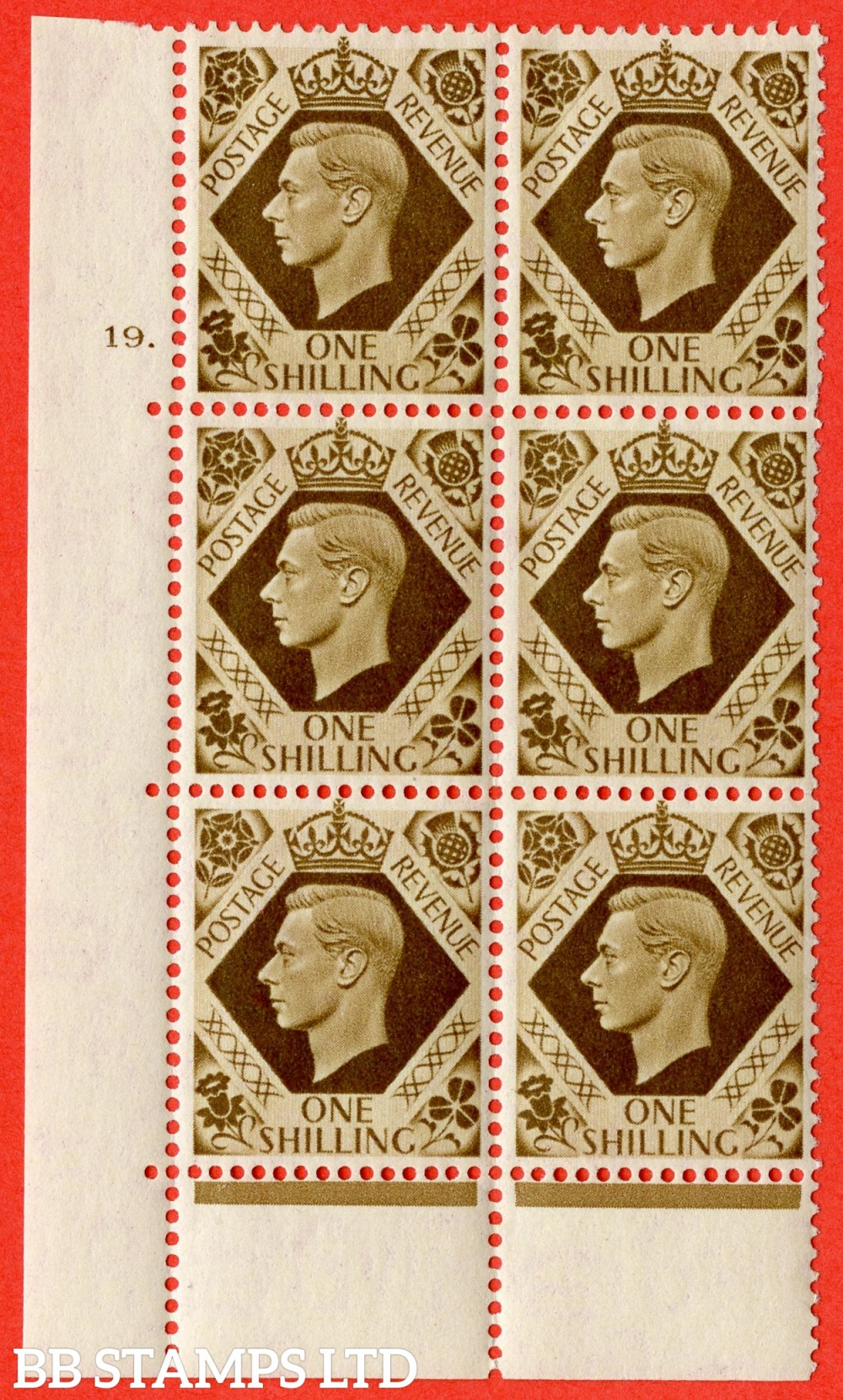 "SG. 475. Q28. 1/- Bistre-Brown. A superb UNMOUNTED MINT "" No Control cylinder 19 dot "" control block of 6 with perf type 6B E/P"