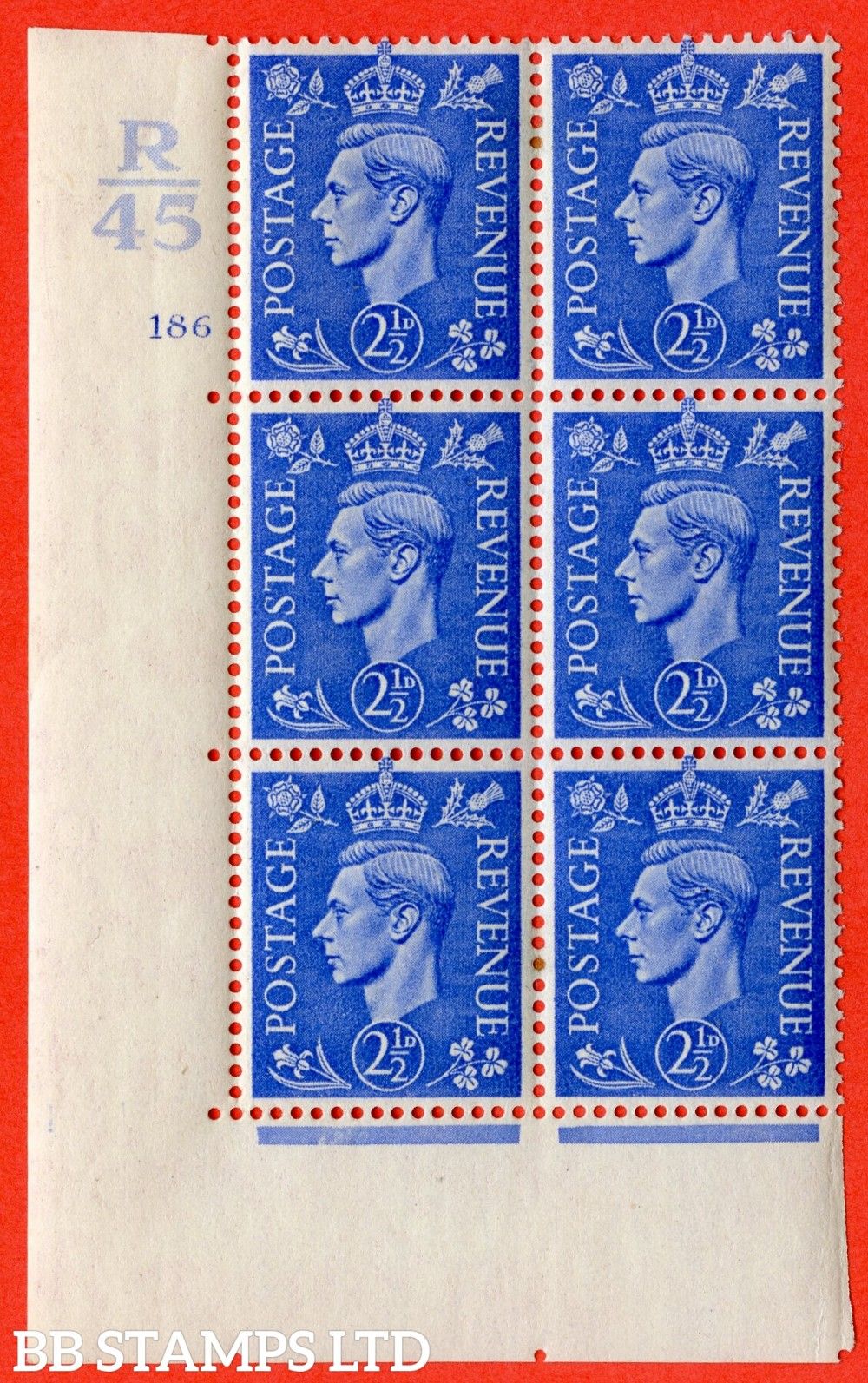 "SG. 489. Q14. 2½d Light ultramarine. A fine lightly mounted mint "" Control R45 cylinder 186 no dot "" control block of 6 with perf type 5 E/I."